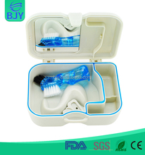 Custom Logo Available Convenient Plastic Denture Retainer Box Mirror And Brush Included