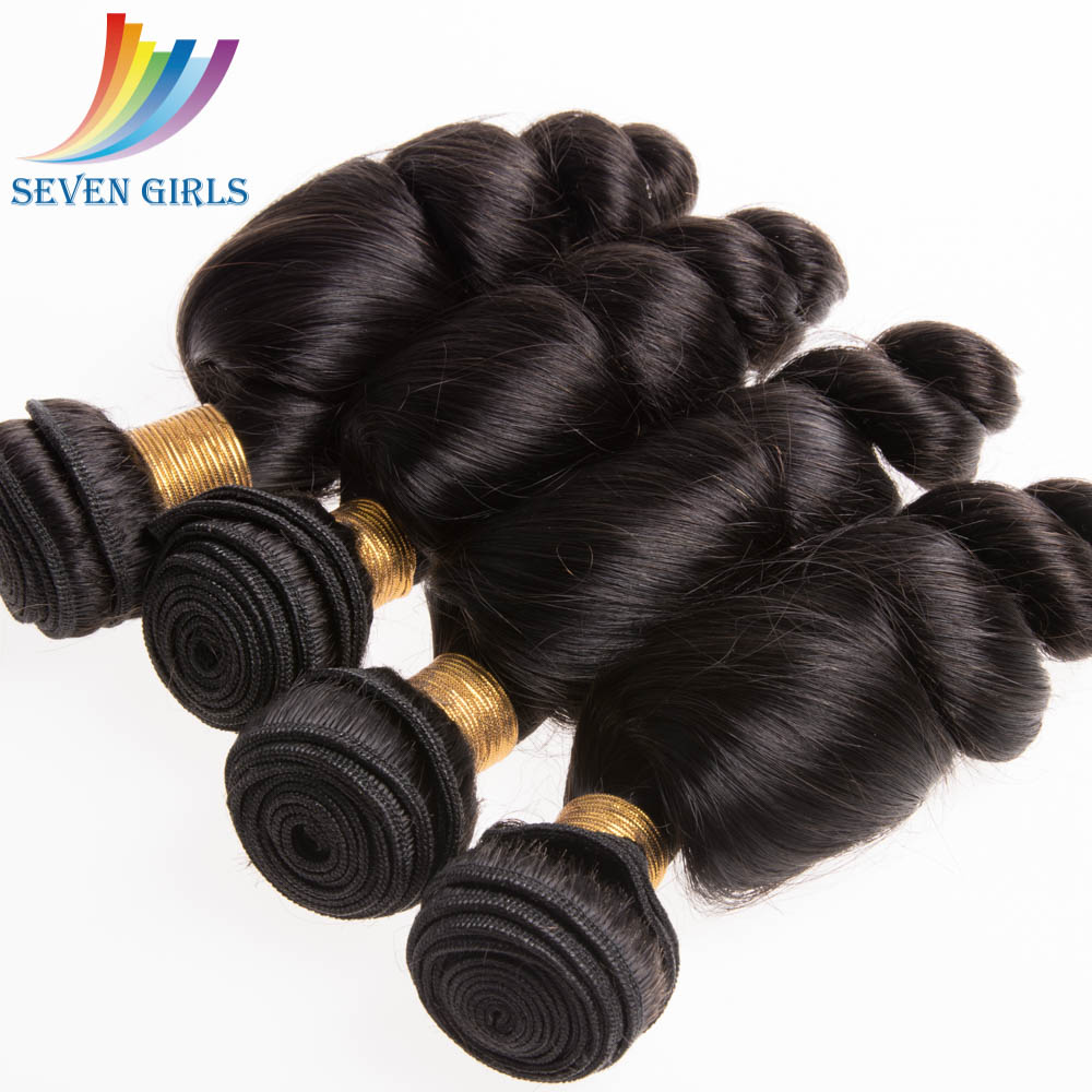 Seven girls 8A grade Virgin malaysian loose wave 100 human hair weave for women