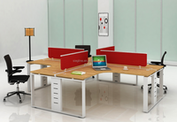 Steel Frame 4 Person Office Furniture Desk with Glass Partiton