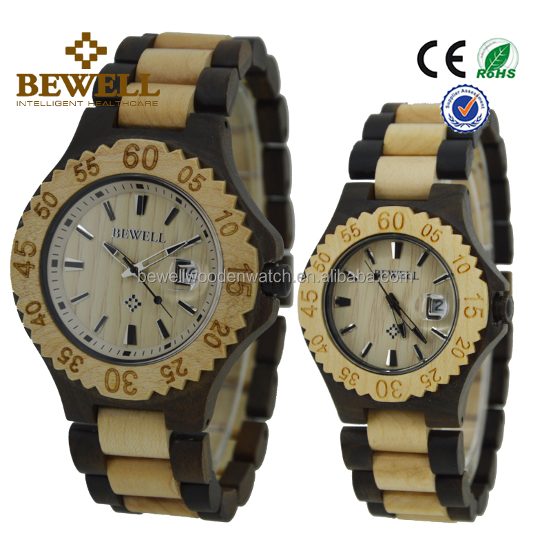 Wholesale Popular Bewell or brand your own watches Lover's Japan Quartz Movement Wrist Black sandalwood and maple Wood Watch