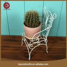 Classic wrough iron chair design flower pot stand indoor