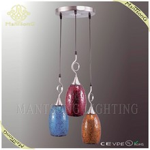Wholesale modern 3 bulds home hanging turkish mosaic lamp, glass pendant light