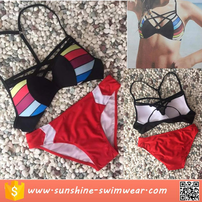 Latest Design Girl Colorful Sexy Red Push Up Bikini