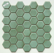 Cheap price factory provide swimming pool tiles Green ceramic hexagon mosaics