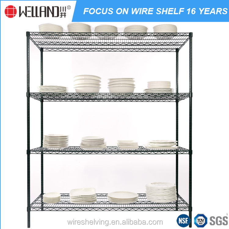 Wholesale 4 tiers DIY metal wire shelving powder coating plate dish kitchen rack for restaurant