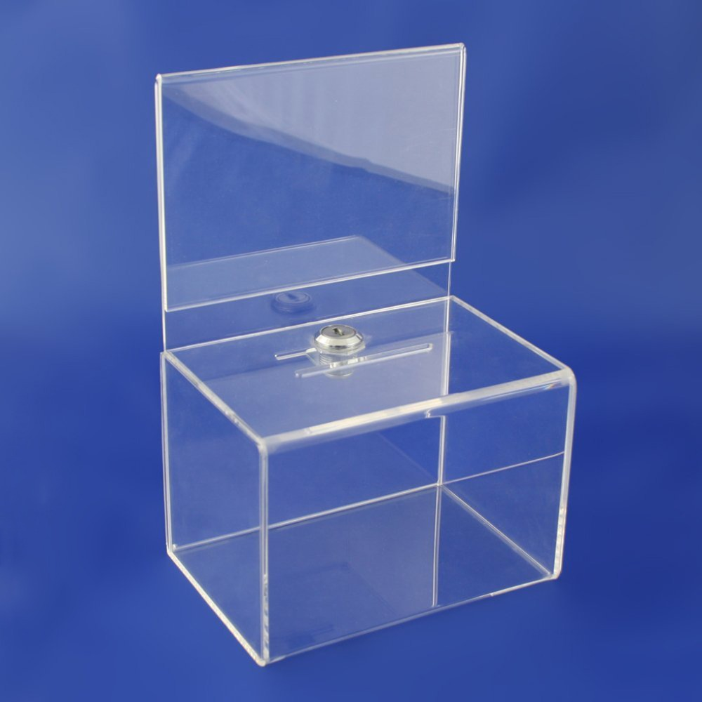 Wholesale Acrylic Donation Box Charity Collection Box with Lock