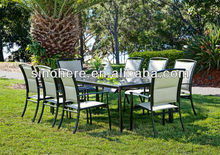 Aluminium frame PVC table and chairs set for garden dining