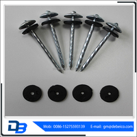 2016 Best products galvanized umbrella head roofing nails (factory) with plastic washer