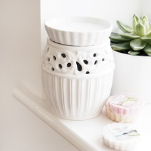 White electric scented ceramic wax tart warmer oil candle burners wax melt plug in diffuser/essential oil diffuser