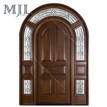 European Style Factory Price Water Proof Solid Wood Antique Lowes Pocket Arched French Doors Interior
