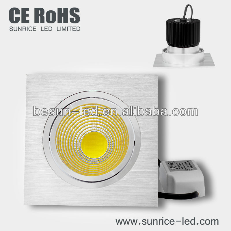 COB 15w square led downlights white/silver housing Epistar chip with reflector