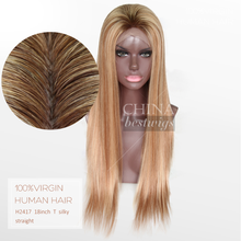 Gold Supplier T Color Dark Roots Blonde Human Hair Full Lace Wig