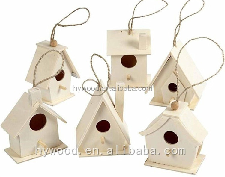 hanging mounted small unfinsihed cheap low price wooden bird house with rope hemp handle alibaba china wholesale