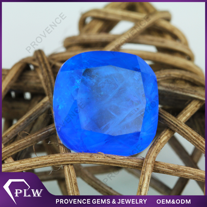 New Stycle Cushion Cut Sapphire Blue Loose Stone Natural Cracks Imitation Sapphire Beads For Earrings