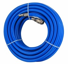 Blue 300 PSI coiled polyurethane air hose for air compressor