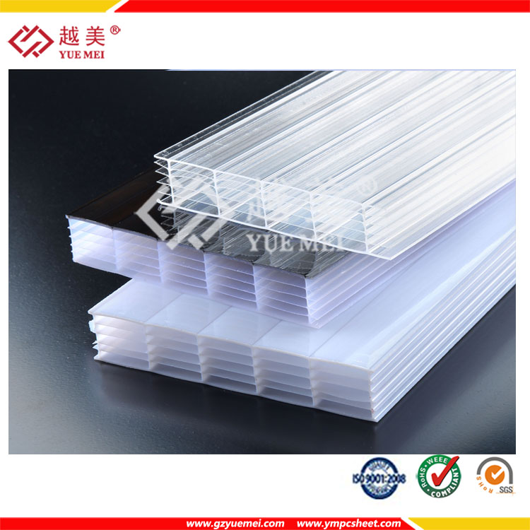 Yuemei opal six wall hollow polycarbonate sheet pc soundbarrier sheet