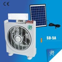 LED Solar portable rechargeable fan with led light, Emergency Light Fan