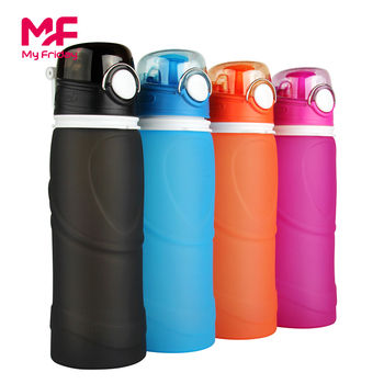 Collapsible 750ml FDA Approved Silicone Foldable bpa free water bottle for Sport, Outdoor, Travel, Camping, Picnic