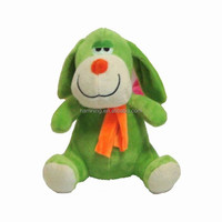 19cm green rattle dog plush toys with scarf