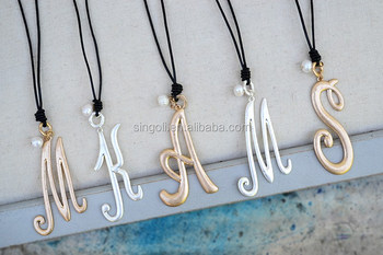 2017 Large Monogram Leather Necklace Gold Silver Monogram Letter Necklace with Pearl