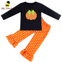 Kids Fall Boutique Outfits Halloween Pumpkin Tops Shirts Ruffles Dots Pants Toddler Kids Clothing Wholesale