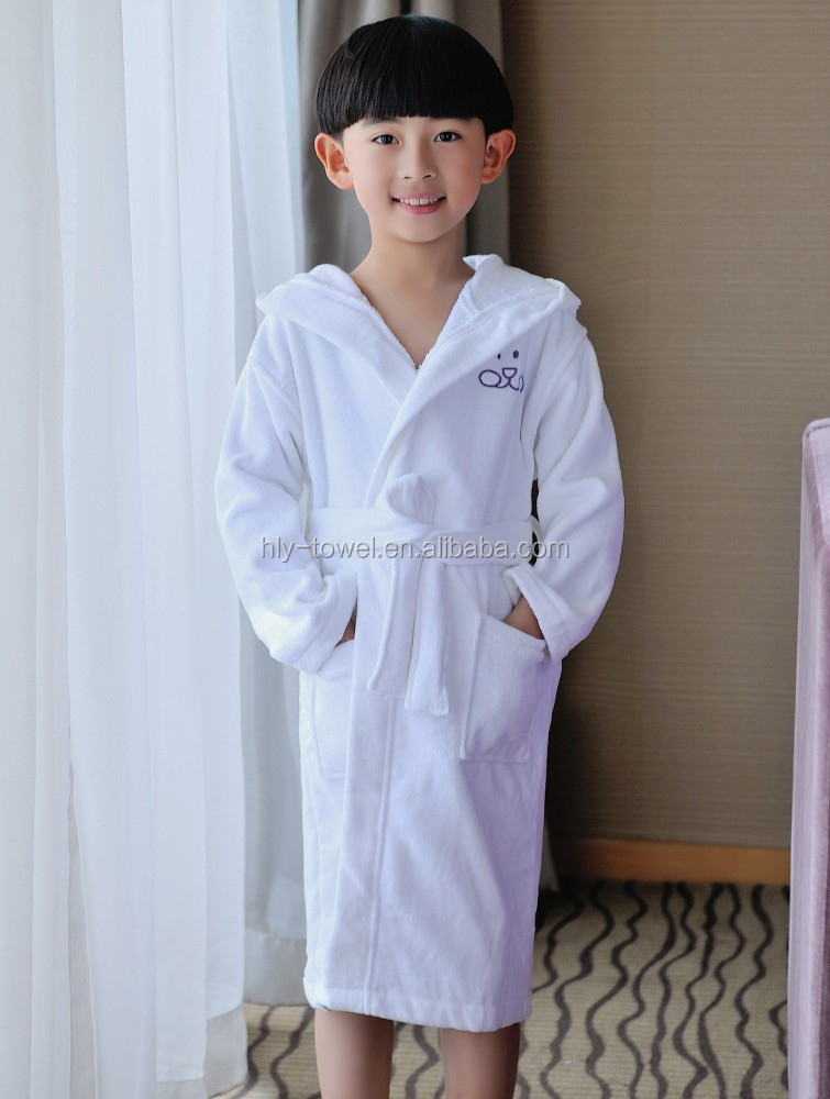 beautiful cotton velour white hotel children long robes