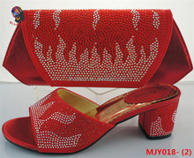Gzmadison 2016 New model red women sandals shoes matching bag with stones/italian shoe and bag set for ladies /MJY018-2