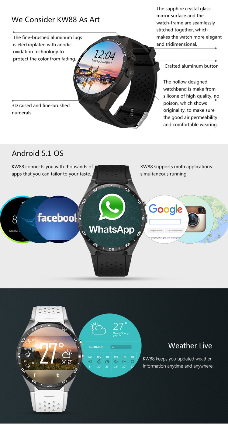 Android Smart Watch 2016, Stand Alone Wifi Watch, 3G Watch