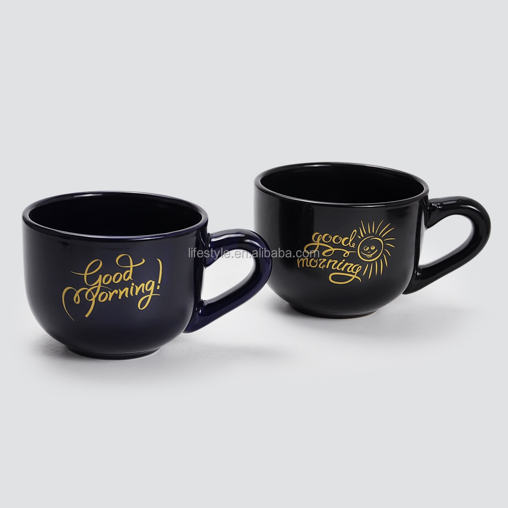 High Quality Logo Customized Big Ceramic Soup Mug, Promotional Glazed Soup Mug With Handle