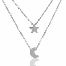 5% discount Fashion double stainless steel charm rhinestone layered chain necklace for women