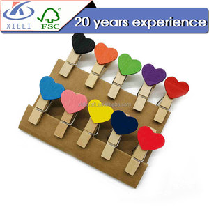 XL026 Heart shape mini wood craft clip holder cloth peg