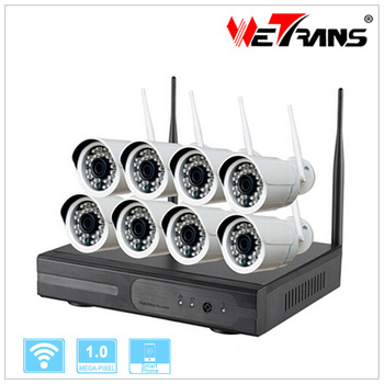Cheap Home Security Camera Systems HD 1280*720p IP Camera 8ch Wireless NVR Kit Wifi IPK9008B-W