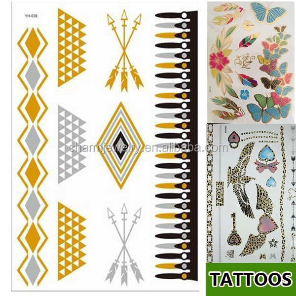 fence gold and silver metallic tattoo sticker high quality simple design tattoo YH039