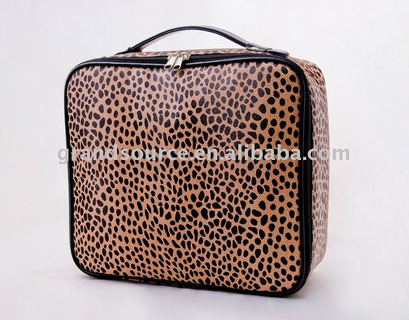 Leopard cosmetic handbag bag for ladies