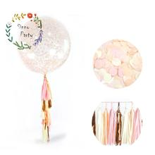 "Wedding Tissue Paper Pink Gold Tassel Garland Kit 36"" Christmas Confetti Balloon with Tassels for Party Decoration"
