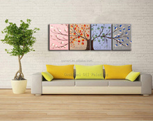 Wholesale High Quality Abstract Four Panels Seasons Tree Oil Painting On Canvas Handmade Abstract Tree For Wall Decoration