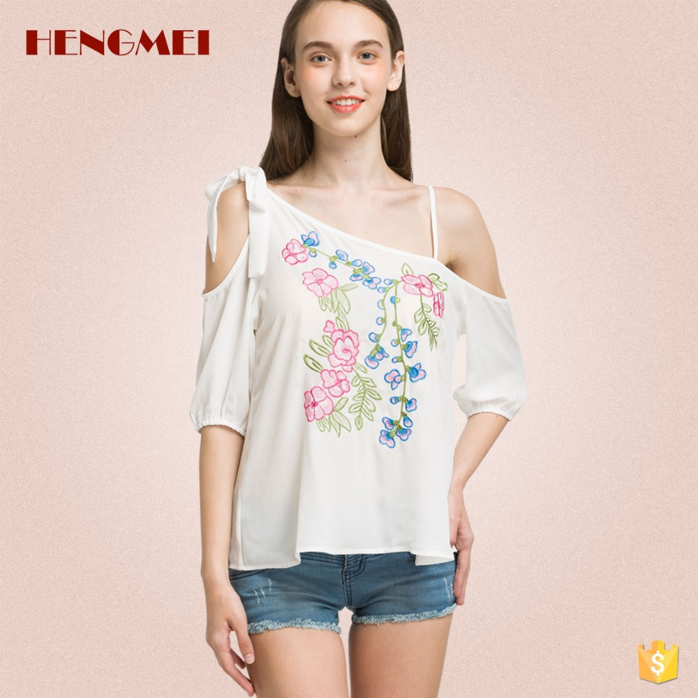 New style cold shoulder embroidery chiffon blouse