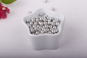 Metallic Silver Sugar Beads
