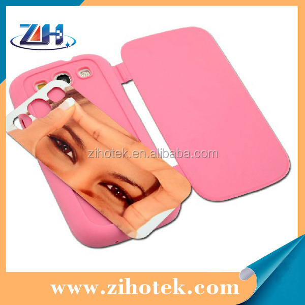 Flip sublimation cover for Samsung S3 (i9300) (PU cover cases + Aluminum insert)