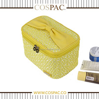New Arrival Portable Large Light Yellow PU With 2 Layers Ladies Cosmetic Bag Set