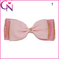 Free Shipping Rhinestone Charming Pattern Headband Accessory Hair Bow With Clip For Girls CNHBW-141104014-4W2