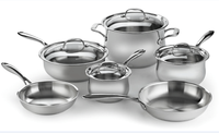 10pcs stainless steel belly shape wide cut edge cookware set