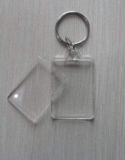 Customized OEM Promotional Plastic Acrylic blank keychain/picture photo PS key chain/keyring 45X35mm