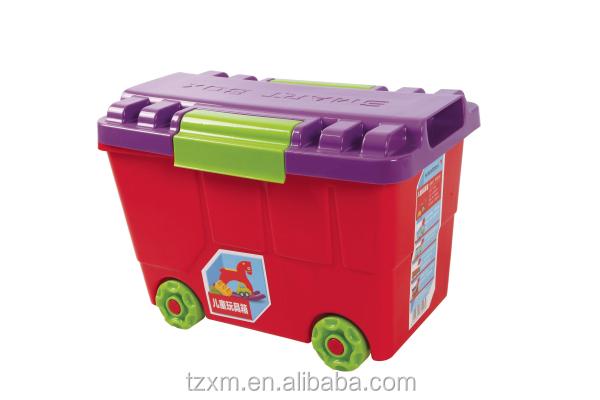 Ni os juguete juguetes de pl stico caja organizador con - Cajas de plastico con ruedas ...