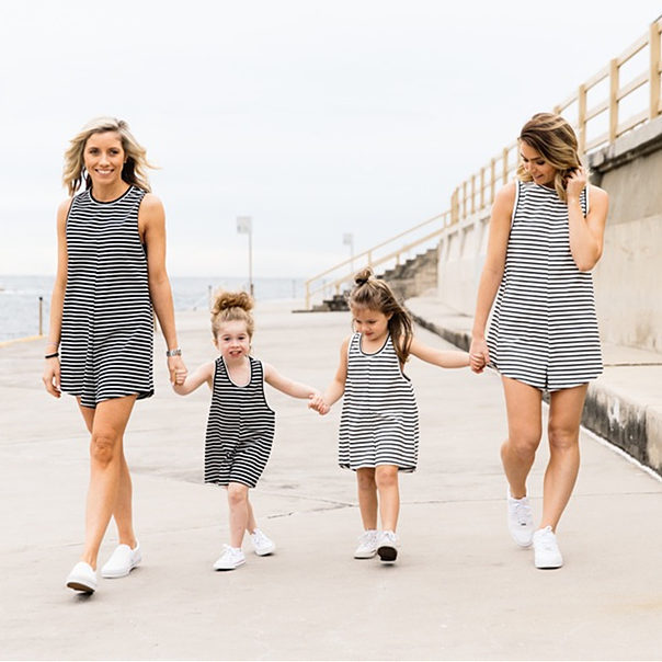 2016 summer stripe printing matching mother daughter dresses clothes
