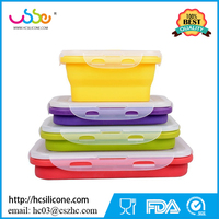 Reusable Heat Resistant Eco-friendly BPA Free Collapsible Lunch Box Airtight Oven Safe Microwave Silicone Food Container Set