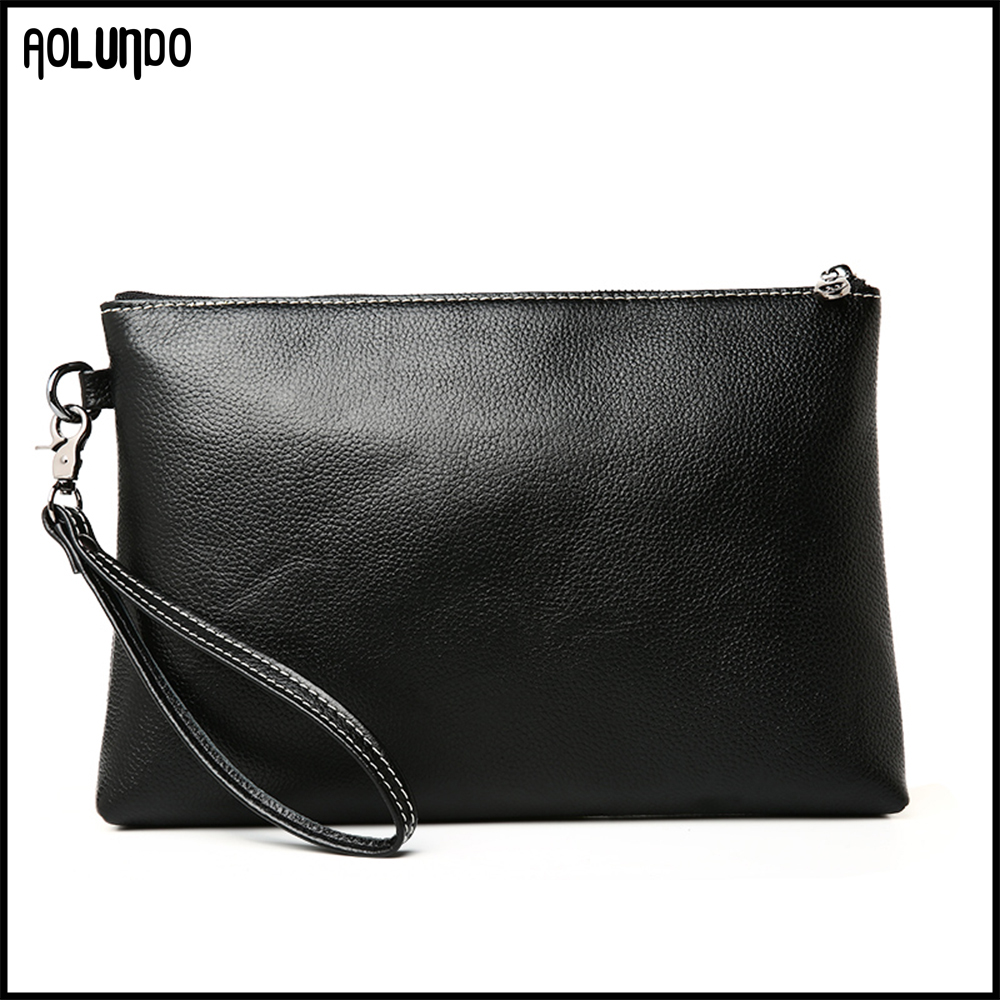 New trendy black simple mens genuine leather clutch bag