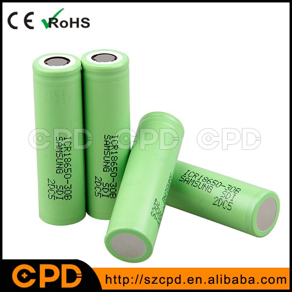 18650 3000mAh Samsung lithium battery cell 18650 30B Samsung 18650 30B flat top battery for E-cig