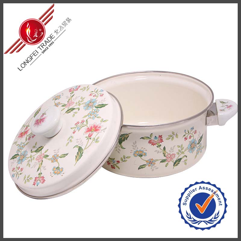 22CM Decaled Porcelain Ceramic Handle Enamel Indian Cookware
