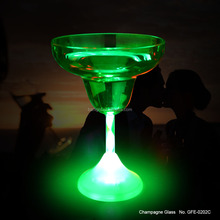 Acrylic cup 230ml volume flashing green led margarita cup for wedding